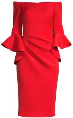 Jovani Off-Shoulder Bell Sleeve Sheath Dress
