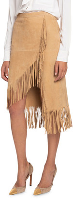 Altuzarra Suede Fringed Wrap Skirt