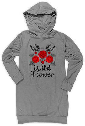 Urban Smalls Girls' Casual Dresses Heather - Heather Gray Boho 'Wild Flower' Hoodie Dress - Toddler & Girls
