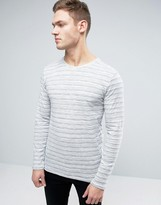 Esprit Long Sleeve Top With Fine Broken Stripe