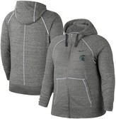 Nike Women's Heathered Gray Michigan State Spartans Plus Size Gym Vintage Full-Zip Hoodie