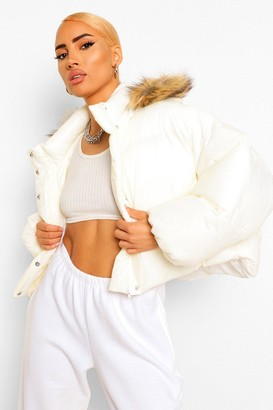boohoo Faux Fur Trim Hooded Puffer Jacket