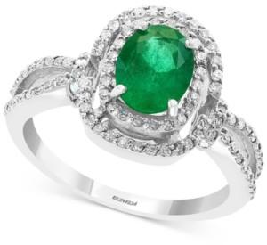 Effy Emerald (1-1/8 ct. t.w.) & Diamond (1/3 ct. t.w.) Ring in 14k White Gold