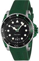 Gucci Men's Swiss Dive Green Rubber Strap Watch 40mm YA136310