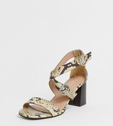 New Look Wide Fit wide fit pu multi strap block heeled sandal in animal print