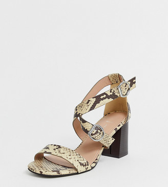 New Look Wide Fit wide fit pu multi strap block heeled sandal in animal print-Stone