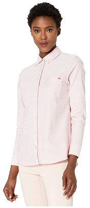 Vineyard Vines Oxford Chilmark Relaxed Button-Down (Paradise Pink) Women's Clothing