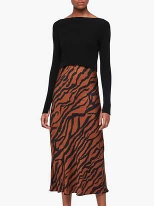 AllSaints Hera Zephyr Tiger Print Jumper Dress, Toffee/Black