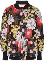 Marni Oversized Floral-print Matelassé Bomber Jacket - Black