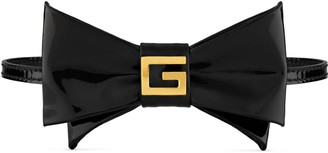Gucci Patent bow tie choker with Square G