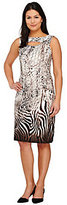 George Simonton As Is Animal Print Milky Knit Dress with Keyhole Detail