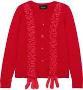 Simone Rocha Embroidered Merino Wool, Silk And Cashmere-blend Cardigan