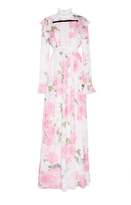 Giambattista Valli Georgette Rose Printed Ruffled Maxi Dress