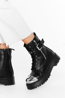 Nasty Gal Womens When We're Toe-gether Faux Leather Boots - black - 3