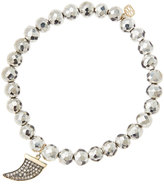 Sydney Evan Jewelry 6mm Faceted Silver Pyrite Beaded Bracelet with 14k Gold/Diamond Medium Horn Charm (Made to Order)
