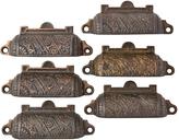 Rejuvenation Set of 6 Cast Brass Victorian Bin Pulls w/ Copper Finish