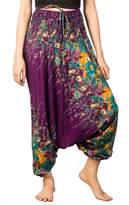 Lofbaz Women's Floral Eye Harem Smocked Waist 2 in 1 Pants Jumpsuit Trousers Dark Green S