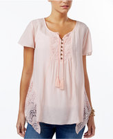 Style&Co. Style & Co Crochet-Trim Handkerchief-Hem Top, Created for Macy's