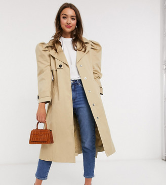 ASOS DESIGN Petite puff sleeve trench coat in stone