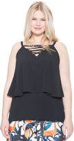ELOQUII Plus Size Layered Criss Cross Tank