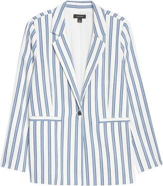 Halogen Stripe Cinch Sleeve Blazer