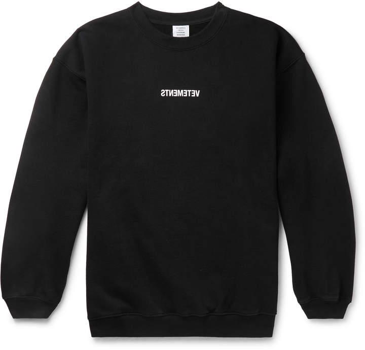 Vetements Logo-Print Fleece-Back Cotton-Jersey Sweatshirt - Men - Black