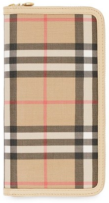 Burberry Vintage Check E-canvas and Leather Wallet