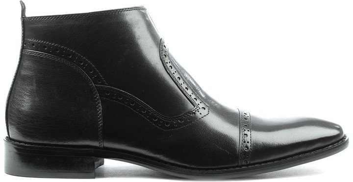 Daniel Hermitage Black Leather Hole Punch Ankle Boot