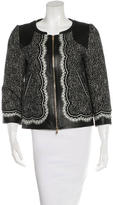 Andrew Gn Leather-Trimmed Tweed Blazer