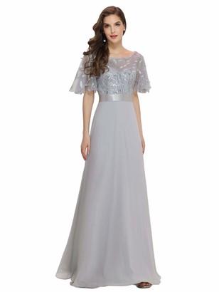 Ever Pretty Ever-Pretty Women's Round Neck A Line Long Short Sleeve Chiffon Wedding Party Dresses Dark Green 14UK
