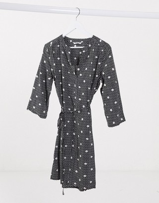 Only maja v neck tie waist dress in polka dot