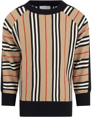 Burberry Beige Sweat For Kids With Iconic Stripes