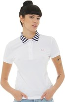 Fred Perry Womens Stripe Tipped Collar Shirt White