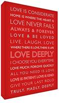 Feel Good Art Love Deeply Gallery Wrapped Box Canvas with Solid Front Panel from the Inspiration Collection (40 x 30 x 4 cm, Medium, Red)
