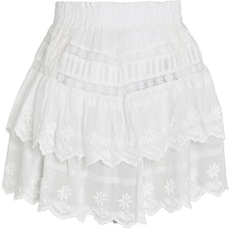 LoveShackFancy Emilia Cotton Eyelet Mini Skirt