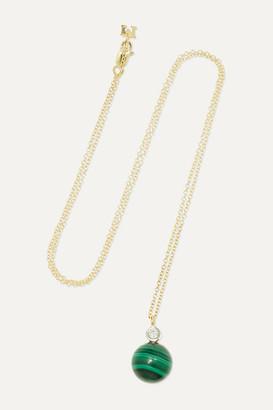 Mateo - 14-karat Gold, Malachite And Diamond Necklace