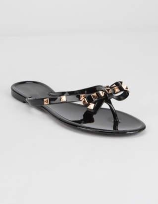 Wild Diva Jelly Bow Womens Black Sandals