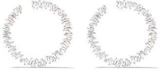 Suzanne Kalan 18kt White Gold Diamond Classic Spiral Hoop Earrings