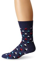 Happy Socks Men's Unisex Combed Cotton Crew - Navy Mini Diamond (Pack of 1)