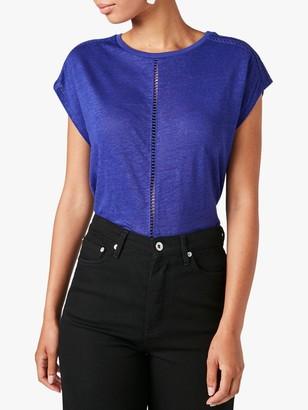 Jigsaw Linen Sleeveless Embroidered Seam T-Shirt, Indigo