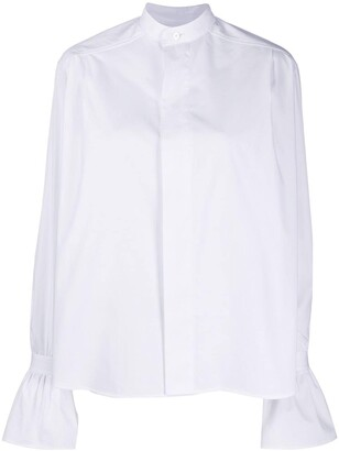 AMI Paris Ruffled-Cuff Short Shirt