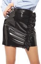 Topshop Ruffle Vinyl Miniskirt