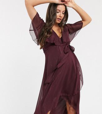 Asos DESIGN Maternity cape back dipped hem midi dress in metallic stripe