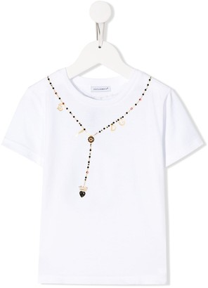 Dolce & Gabbana Kids neck embellished T-shirt