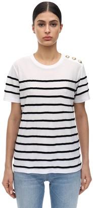 Balmain Striped Cotton Jersey T-shirt