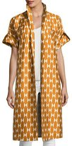 Tory Burch Haley Diamond Tile-Print Short-Sleeve Silk Jacket, Orange/White