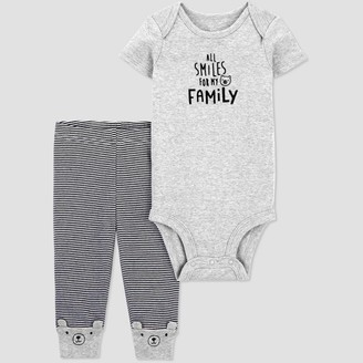 Just One You Made By Carter's Baby 2pc 'All Smiles For My Family' Bodysuit and Pants Set - Just One You® made by carter's Gray/Black
