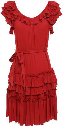 Marissa Webb Tiered Ruffle-trimmed Gathered Crepe Mini Dress