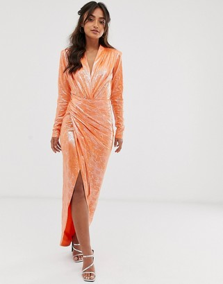 John Zack wrap front snake maxi dress in orange
