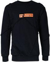 Palm Angels lace-up patched sweatshirt - men - Cotton - XL